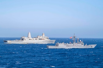 USS San Antonio (LPD 17) conducts a passing exercise with Egyptian Naval Force ships in the Red Sea.