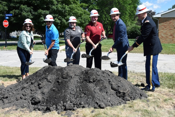 The U.S. Army Corps of Engineers, U.S. Rep. Frank J. Mrvan (IN-1), and Crown Point Mayor David Uran held a groundbreaking ceremony to mark the start of a sewer infrastructure improvement project in Crown Point, Indiana, June 22, 2021. (U.S. Army photo by Patrick Bray/Released)