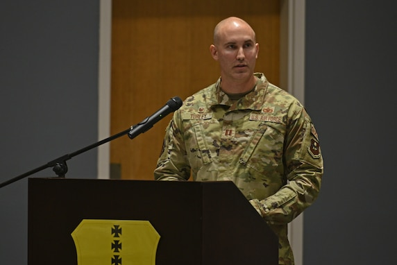 U.S. Air Force Capt. Heath Turley, incoming 17th Security Forces Squadron commander, speaks during the change of command ceremony at the Event Center on Goodfellow Air Force Base, Texas, June 22, 2021. The 17th SFS provides unparalleled base defense and law enforcement services to Goodfellow AFB, and supports contingency operations with world class defenders. (U.S. Air Force photo by Senior Airman Ashley Thrash)