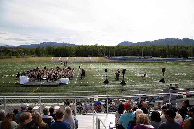 The Alaska Military Youth Academy's graduation ceremony is held at the Bartlett High School Football Field in Anchorage, June 18, 2021. The ceremony featured Alaska Lt. Gov. Kevin Meyer as the keynote speaker for the 79 graduating cadets and their families. (U.S Army National Guard photo by Victoria Granado)