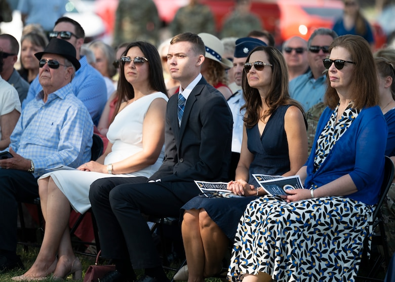 Guests attend a change of command ceremony.