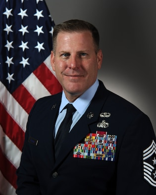 Official photo of Chief Master Sgt. Michael R. Morgan