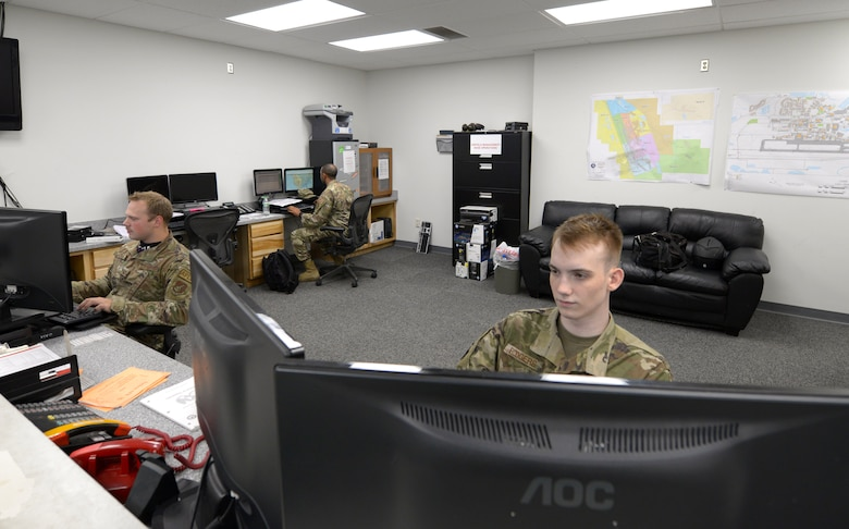 Airmen assigned to the 354th Operations Support Squadron (OSS)  and the 8th OSS Airfield Management Flights coordinate parking and log flight plans during RED FLAG-Alaska (RF-A)21-2 on Eielson Air Force Base, Alaska, June 21, 2021. To help ease the burden of RF-A's higher operations tempo, a visiting unit will typically send one of their own airfield managers to augment with the host base's unit. (U.S. Air Force photo by Senior Airman Beaux Hebert)