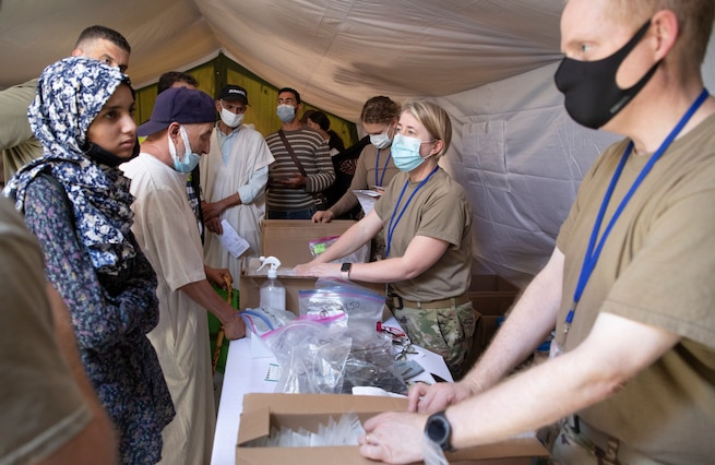U.S. Military members conduct medical treatment to civilians in Morocco