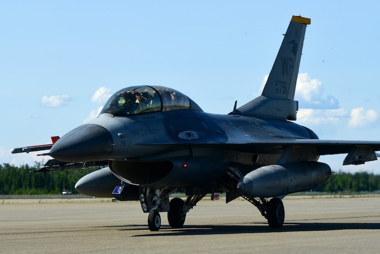 An F-16 Fighting Falcon taxis before takeoff during Red Flag-Alaska 21-2 at Eielson Air Force Base, Alaska, June 16, 2021. RF-A exercises are focused on improving the combat readiness of U.S. and international forces and providing training for units preparing for air and space expeditionary force tasking. (U.S. Air Force photo by Senior Airman Suzie Plotnikov)
