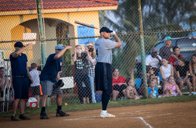 U.S. Air Force Col. Ryan Hendricks, 36th Wing judge advocate, prepares to hit during the Chief's versus Eagle's softball game at Andersen Air Force Base, Guam, June 18, 2021.