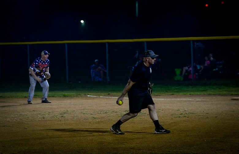 U.S. Air Force Chief Master Sgt. John Splitter, chief enlisted manager assigned to the 36th Civil Engineer Squadron, pitches the ball during the Chief's versus Eagle's softball game at Andersen Air Force Base, Guam, June 18, 2021.