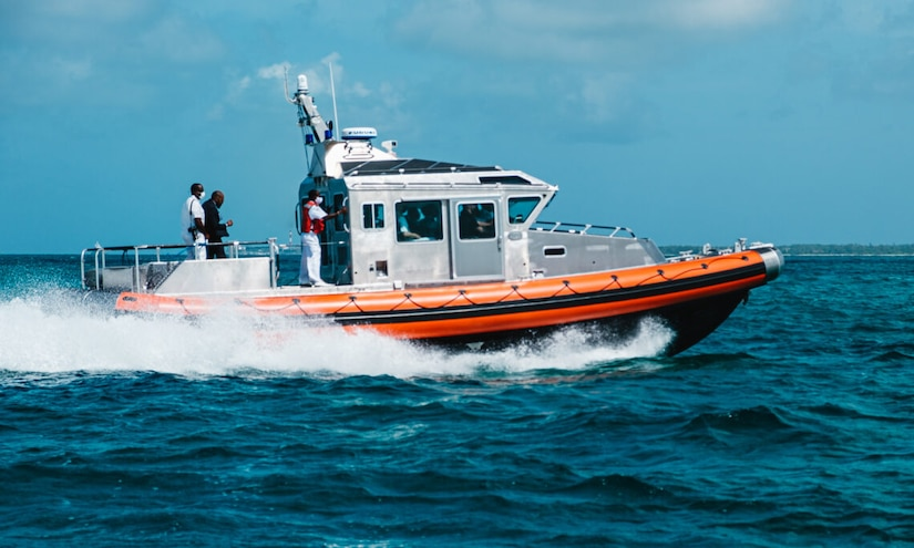 A 44-foot secure all-around flotation equipped (SAFE) boat, donated to the  Royal Bahamas Defence Force (RBDF) by U.S. Northern Command, demonstrates its maneuvering capabilities and top speed of 36 knots just off the coast of New Providence near the RBDF Headquarters at Coral Harbour Base, June 22, 2021.