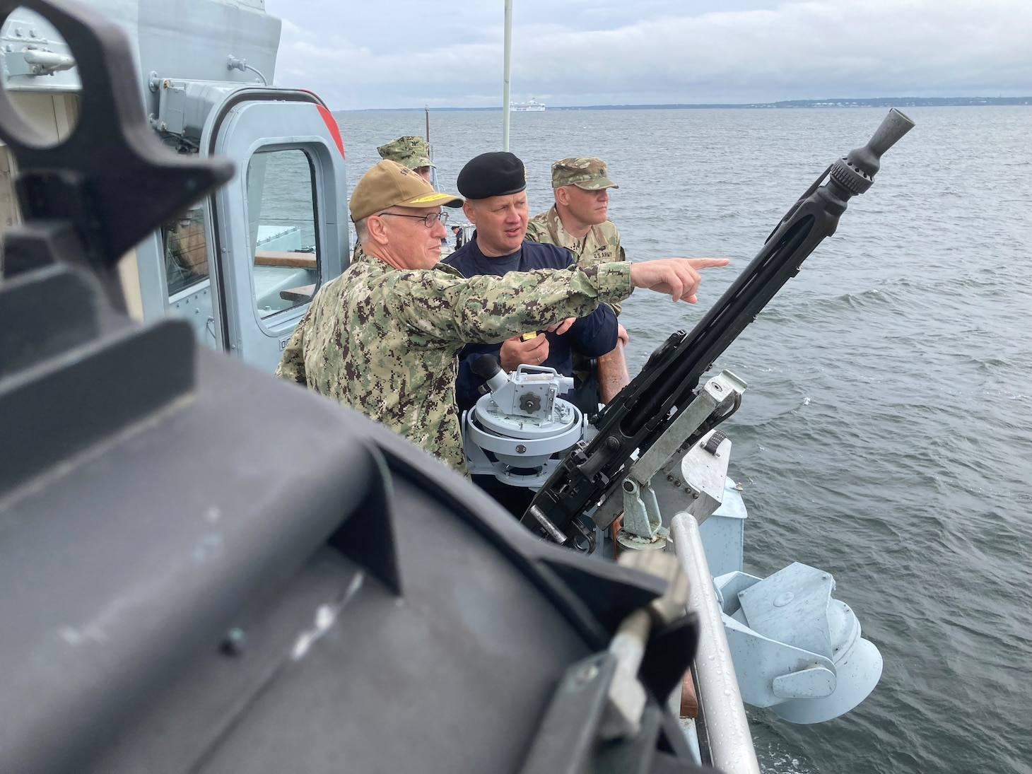 210613-N-NO901-0001 BALTIC SEA (June 13, 2021) Estonian head of Navy Commodore Jüri Saska, middle, and Vice Adm. Gene Black, commander, U.S. Sixth Fleet and commander, Naval Striking and Support Forces NATO, observe a historic mine disposal aboard Estonian minehunter EML Admiral Cowen (M 313), June 13, 2021, in the Baltic Sea. The 50th BALTOPS represents a continuous, steady commitment to reinforcing interoperability in the Alliance and providing collective maritime security in the Baltic Sea. (U.S. Navy courtesy photo)