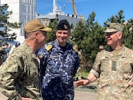 210616-N-NO901-0001 KLAIPĖDA, Lithuania (June 16, 2021) Lithuanian Chief of Defense Lt. Gen. Valdemaras Rupšys and Lithuanian Head of Navy Capt. Giedrius Premeneckas talk with Vice Adm. Gene Black, commander, U.S. Sixth Fleet and, commander, Naval Striking and Support Forces NATO, during Lithuanian-led exercise Baltic Fortress 21 Distinguished Visitor Day, June 16, 2021, in Klaipėda, Lithuania.  Baltic Fortress 21 is linked to BALTOPS 50 and certifies Baltic naval officers to operate at the Task Group Level. The 50th BALTOPS represents a continuous, steady commitment to reinforcing interoperability in the Alliance and providing collective maritime security in the Baltic Sea. (U.S. Navy courtesy photo)