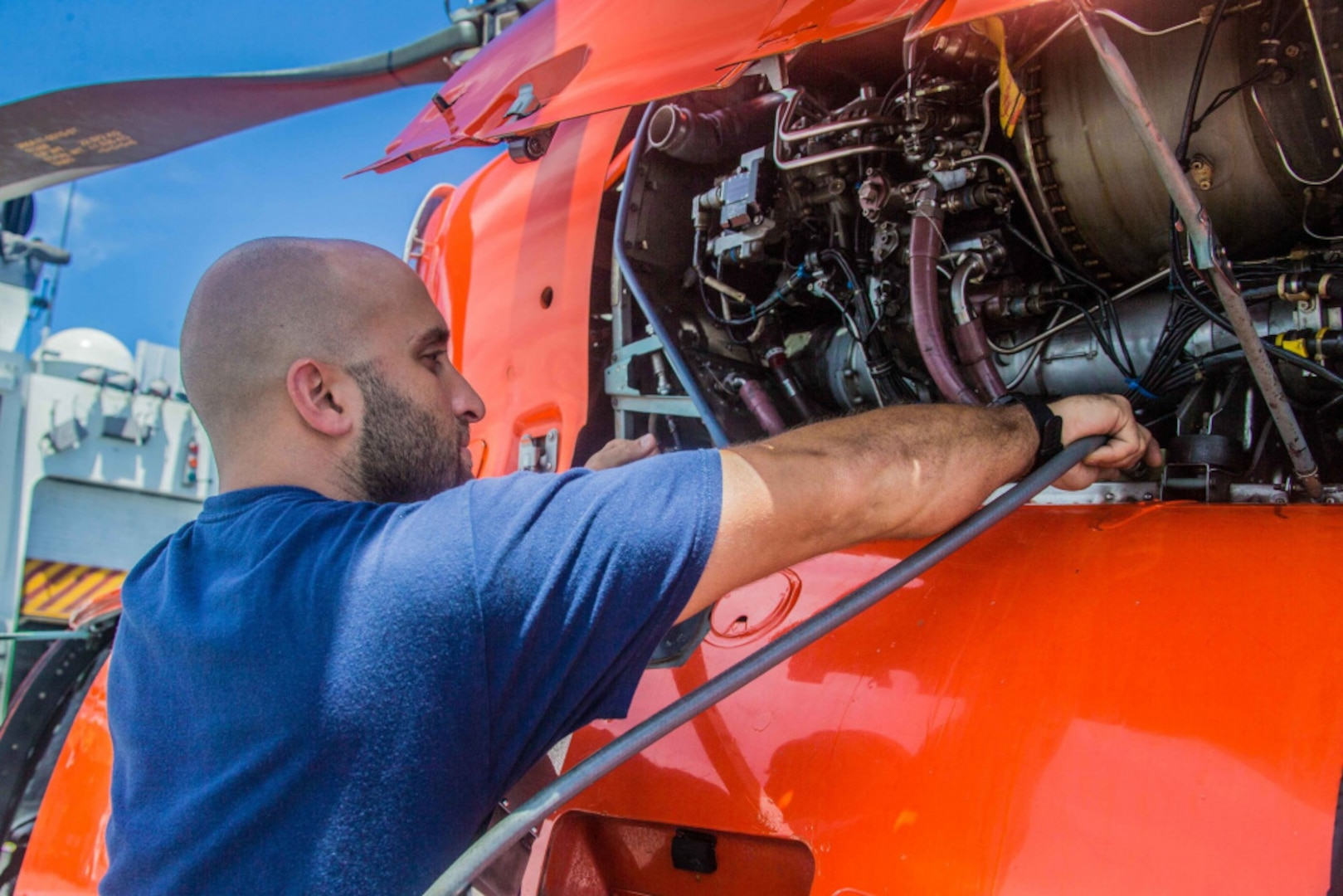 Petty Officer 2nd Class Michael El-Hasan, originally from Jacksonville, Florida, is an Aviation Maintenance Technician and has been aboard USCGC Hamilton (WMSL 753) for three months as part of the cutter's aviation detachment. (U.S. Coast Guard courtesy photo)