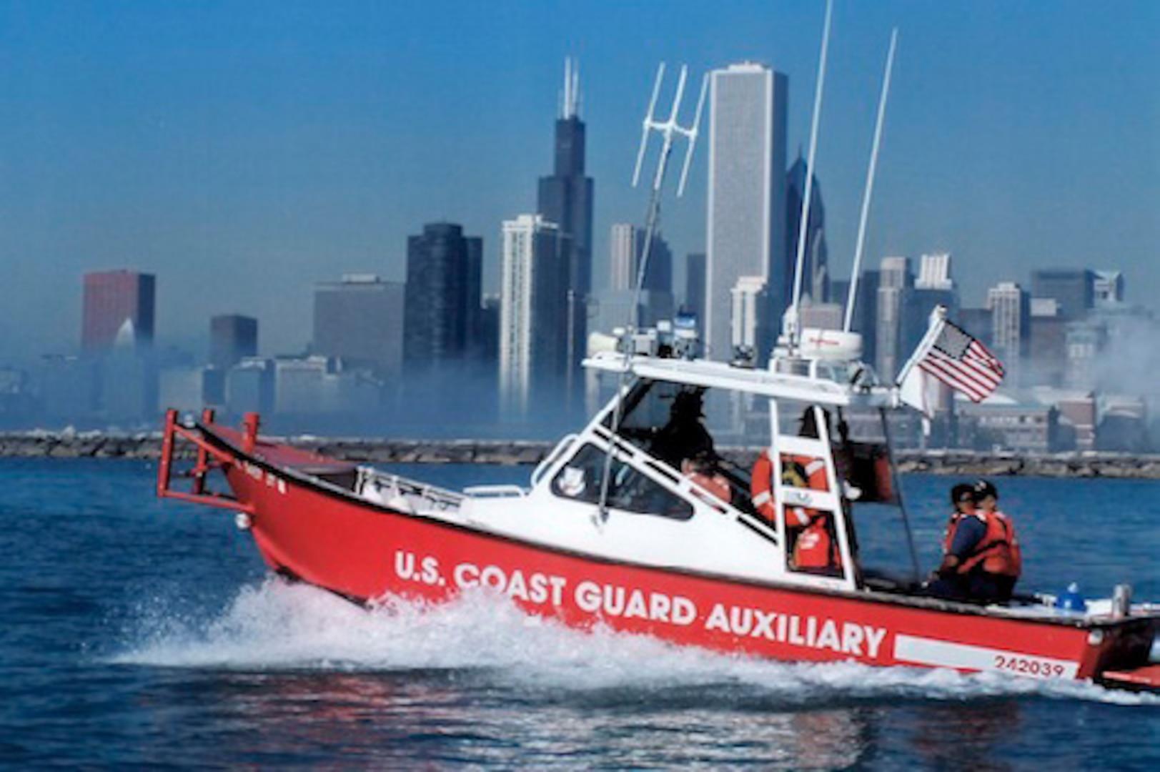 A Coast Guard Auxiliary helping keep boaters safe along southern Lake Michigan.