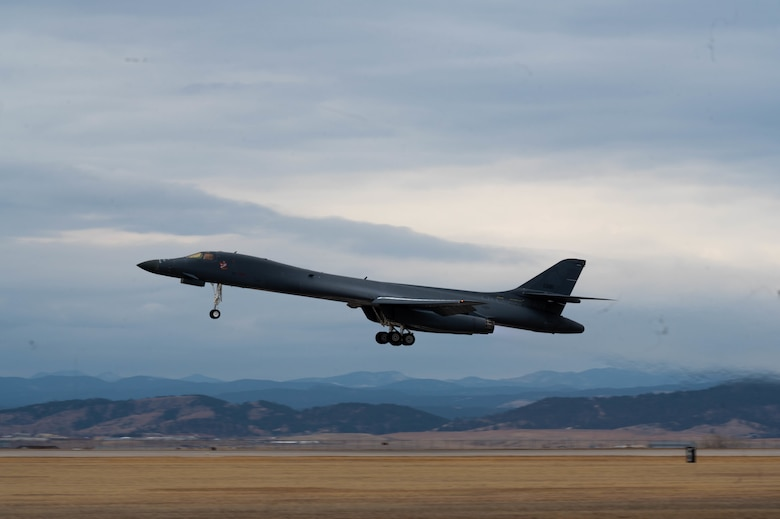 A B-1B Lancer takes off from Ellsworth Air Force Base, S.D., March 12, 2021.