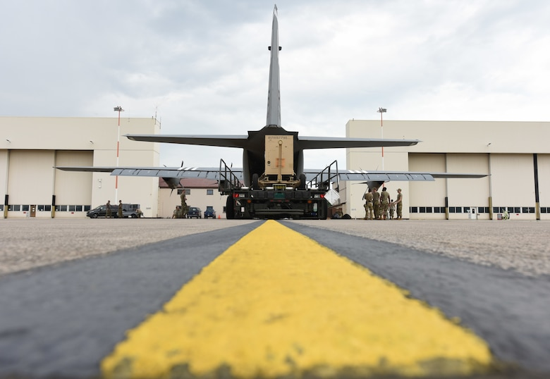 Airmen load C-130J Super Hercules aircraft with supplies at Ramstein Air Base, Germany, June 18, 2021. The 721st Aerial Port Squadron's special handling flight ensures cargo is loaded onto aircraft to be sent to warfighters downrange worldwide. (U.S. Air Force photo by Senior Airman Thomas Karol)