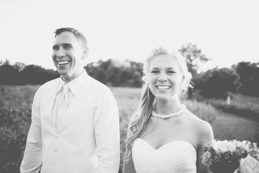 U.S. Air Force Capt. Brian Campbell and his wife Kat Campbell, smile after their wedding at a nature center in Ohio, June 14, 2014. The couple celebrated with family and close friends. (Courtesy photo)
