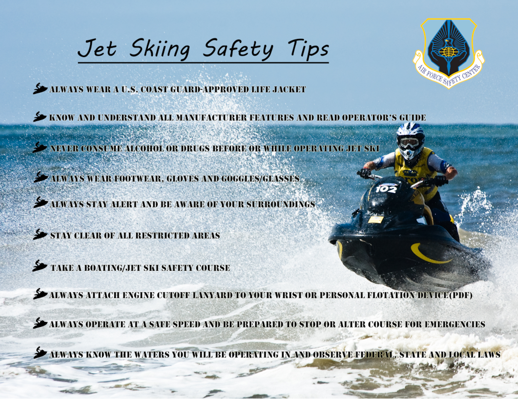 Poster giving safety tips for jet skiing