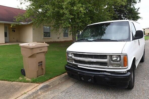 A moving van waits outside of base housing at Maxwell Air Force Base, Alabama, June 23, 2021.
