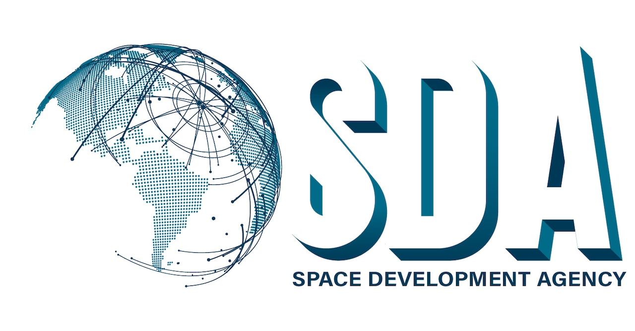 """A graphic featuring a stylized globe and text that reads """"SDA, Space Development Agency."""""""