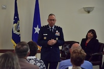 Maj. Gen Tom Wilcox, Air Force Installation and Mission Support Center commander, addresses the family and friends of Janeva R. Maxson during her assumption of command ceremony, June 17, 2021 at The Club at Andrews, Joint Base Andrews, Md. Maxson began her career with the Air Force in 1996. (U.S. Air Force photo by Senior Airman Daniel Brosam)