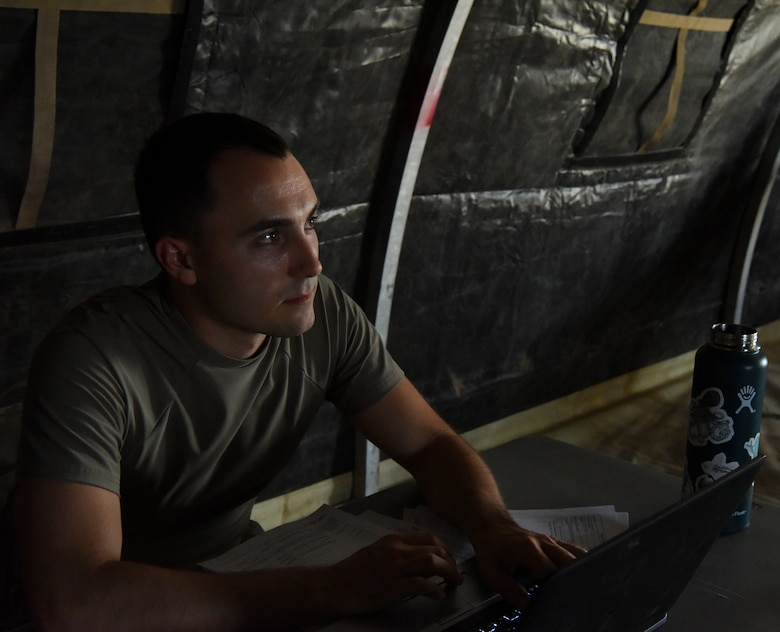 Second Lt. Lance Schricke, 56th Contracting Squadron contracting specialist  , participates in a CONS training scenario June 9, 2021, at Luke Air Force Base, Arizona.