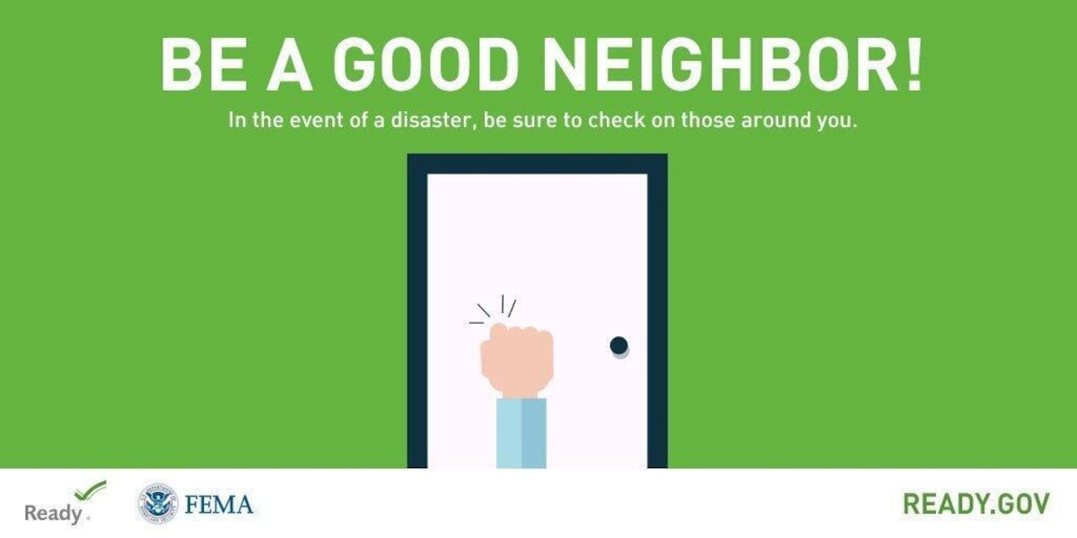 Graphic of a hand knocking on a door with the text: Be a Good Neighbor.