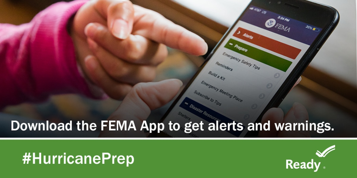 Graphic showing a hand pointing to text on a phone with the text: Download the FEMA App to get alerts and warnings.