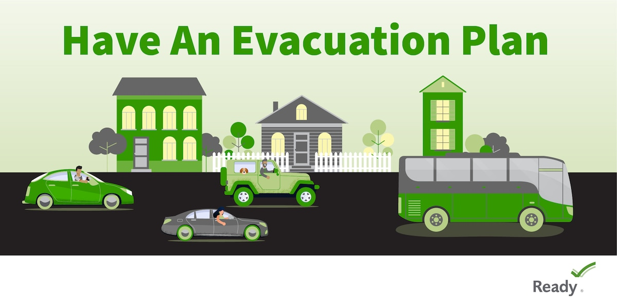 Graphic of houses and people in vehicles on a road.