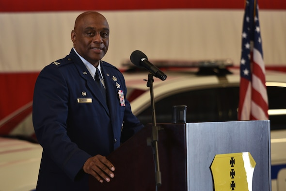 U.S. Air Force Col. Eugene Moore III, incoming 17th Mission Support Group commander, speaks during the change of command ceremony on Goodfellow Air Force Base, Texas, June 23, 2021. The 17th MSG provides installation support and services necessary to train, develop, and inspire the future force. (U.S. Air Force photo by Senior Airman Ashley Thrash)