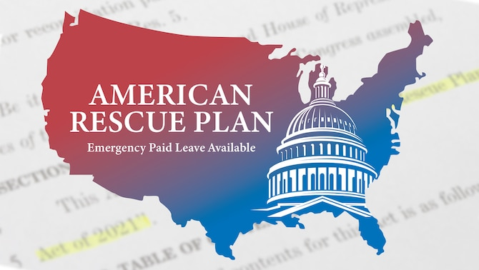 """The words American Rescue Plan, Emergency Paid Leave Available"""" over the top of a silhouette of the United States and U.S. Capitol Building."""