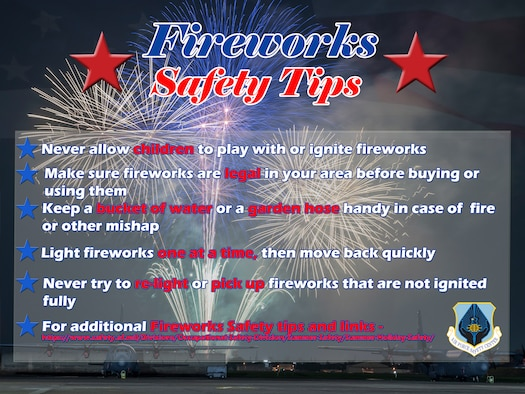 Planes on tarmac with fireworks in the background - Fireworks Safety Tips