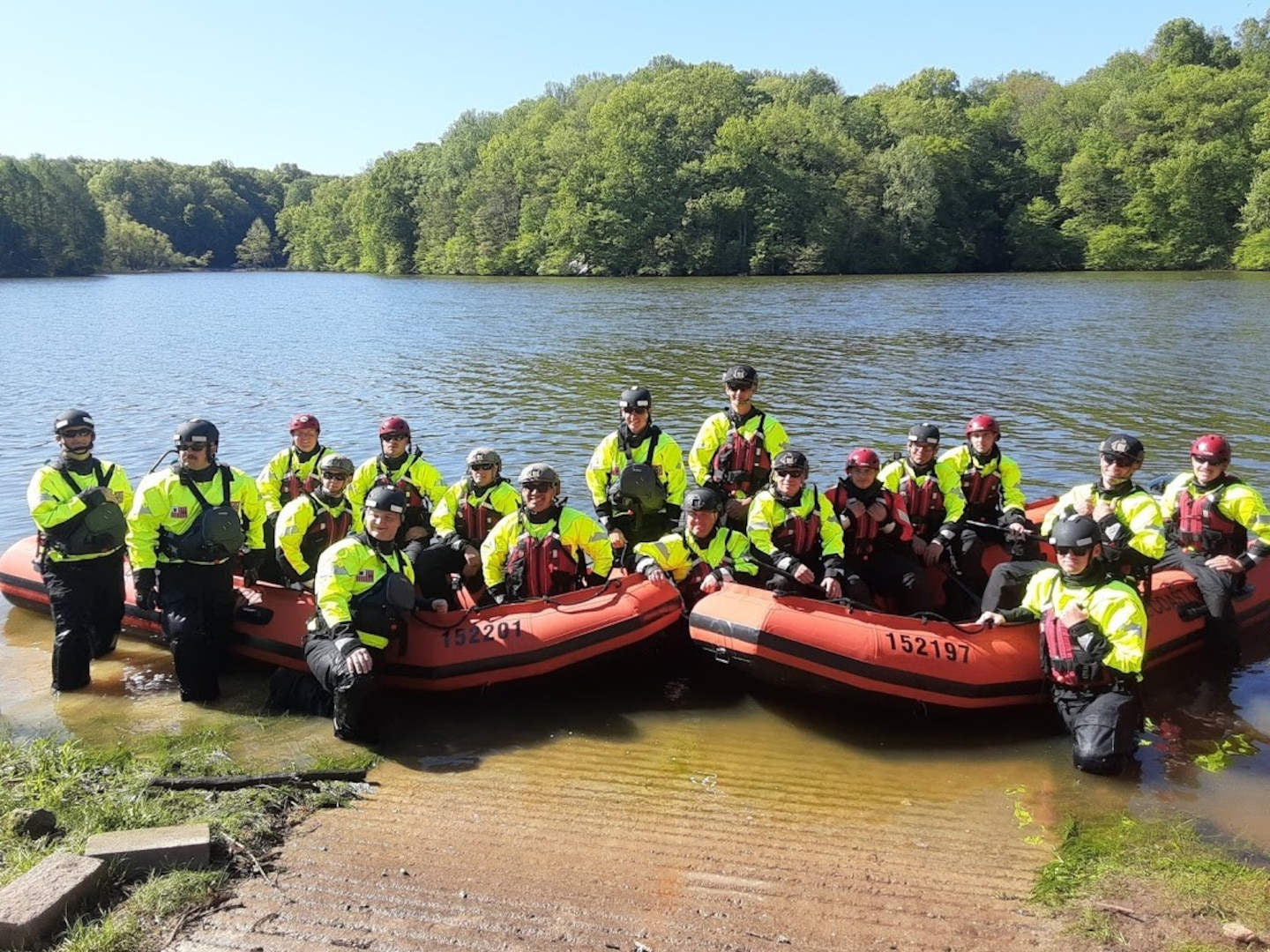 Coast Guardsmen participated in the second annual five-day flood response training course at the state-of-the-art Muscatauck Urban Training Center in May 2021. (U.S. Coast Guard photo by Ames Holbrook)