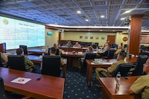 (June 15, 2021) Senior Enlisted Leaders from U.S. European Command and U.S. Africa Command attend a Command Senior Enlisted Symposium at Naval Support Activity Naples, Italy, June 15, 2021. U.S. Naval Forces Europe-Africa, headquartered in Naples, Italy, Conducts the full spectrum of joint and naval operations, often in concert with allied and interagency partners in order to advance U.S. national interests and security and stability in Europe and Africa. (U.S. Navy Photo by Mass Communication Specialist 2nd Class Trey Fowler/Released)