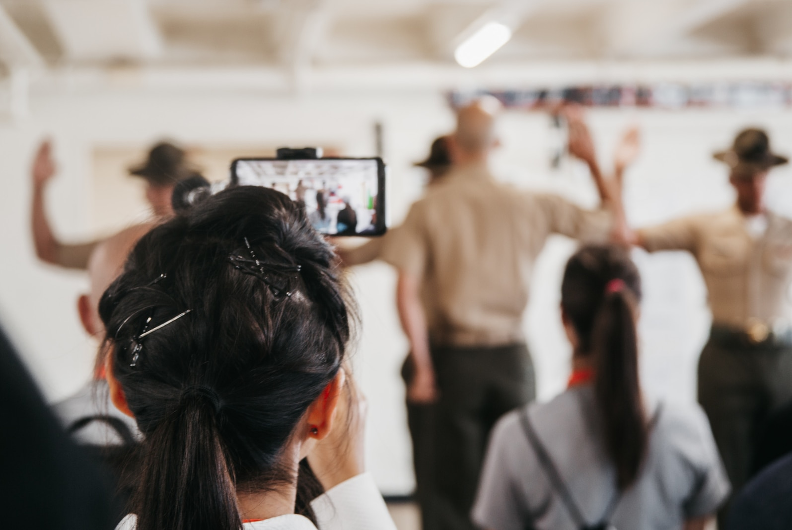 Educators from various locations in California gather to meet their Drill Instructors for the first time just like new recruits during the 12th Marine Corps District Educator's Workshop at Marine Corps Recruit Depot San Diego, California on June 22, 2021.