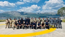 (June 11, 2021) Participating members from Albania, Croatia, Montenegro, Slovenia, and the U.S. pose for a group photo during the 4th annual Adriatic Partnership Maritime Interdiction Operations and Visit, Board, Search, and Seizure Event with the Croatian Navy in Split, Croatia, June 11, 2021. U.S. Naval Forces Europe-Africa, headquartered in Naples, Italy, Conducts the full spectrum of joint and naval operations, often in concert with allied and interagency partners in order to advance U.S. national interests and security and stability in Europe and Africa.