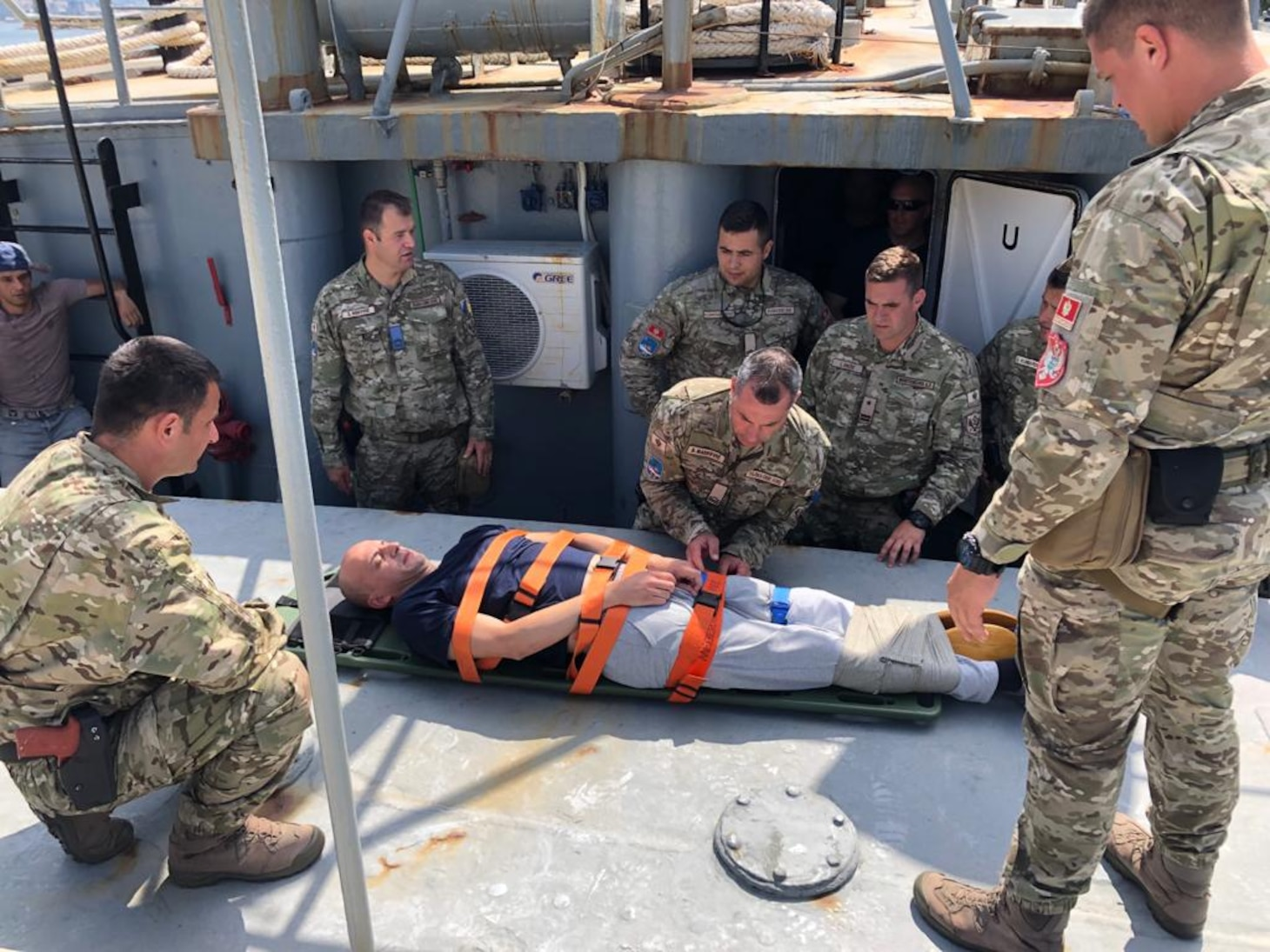 (June 11, 2021) Participating members from Albania, Croatia, Montenegro, Slovenia, and the U.S. conduct medical training during the 4th annual Adriatic Partnership Maritime Interdiction Operations and Visit, Board, Search, and Seizure Event with the Croatian Navy in Split, Croatia, June 11, 2021. U.S. Naval Forces Europe-Africa, headquartered in Naples, Italy, Conducts the full spectrum of joint and naval operations, often in concert with allied and interagency partners in order to advance U.S. national interests and security and stability in Europe and Africa.