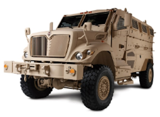 MaxxPro MRAP from a front angle atop a plain white background.