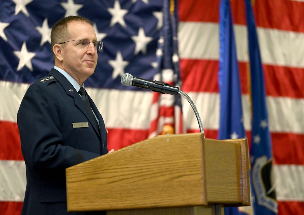 Lieutenant General Jim Slife, commander of Air Force Special Operations Command, speaks during the AFSOC Operations Center change of command ceremony at Hurlburt Field, Fla., June 24, 2021. AFSOC provides Air Force special operations forces for worldwide deployment and assignment to unified combatant commanders. The command has approximately 20,800 active-duty, Reserve, Air National Guard and civilian professionals. (U.S. Air Force photo by Senior Airman Brandon Esau)