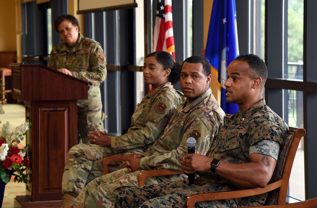Keesler personnel participate in a discussion panel during a Juneteenth ceremony inside the Bay Breeze Event Center at Keesler Air Force Base, Mississippi, June 23, 2021. June 19, other wise known as Juneteenth, is an annual observance of the emancipation of slaves in the state of Texas. (U.S. Air Force photo by Kemberly Groue)