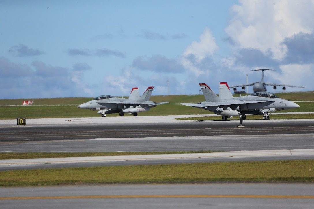 Marine Fighter Attack Squadron 232 arrives on Andersen Air Force Base, Guam to conduct training and participate in regional exercises, June 16, 2021. The training and exercises enable the squadron to increase operational readiness, improve interoperability and meet training requirements. Marine Corps Base Camp Blaz supports the squadron by providing them aviation hangars and spaces to perform maintenance and repair aircraft. MCB Camp Blaz continues to support units in the region by providing critical administrative and logistical support enabling them conduct training and maintain readiness. (U.S. Marine Corps Photo by Gunnery Sgt. John Ewald)