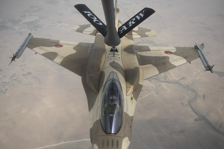 A Royal Moroccan Air Force F-16 Fighting Falcon refuels with a U.S. Air Force KC-135 Stratotanker over Morocco during exercise African Lion 2021, June 15, 2021. African Lion is U.S. Africa Command's largest, premier, joint, annual exercise hosted by Morocco, Tunisia and Senegal. More than 7,000 participants from nine nations and NATO train together with a focus on enhancing readiness for U.S. and partner nation forces. (U.S. Air Force photo by Senior Airman Joseph Barron)