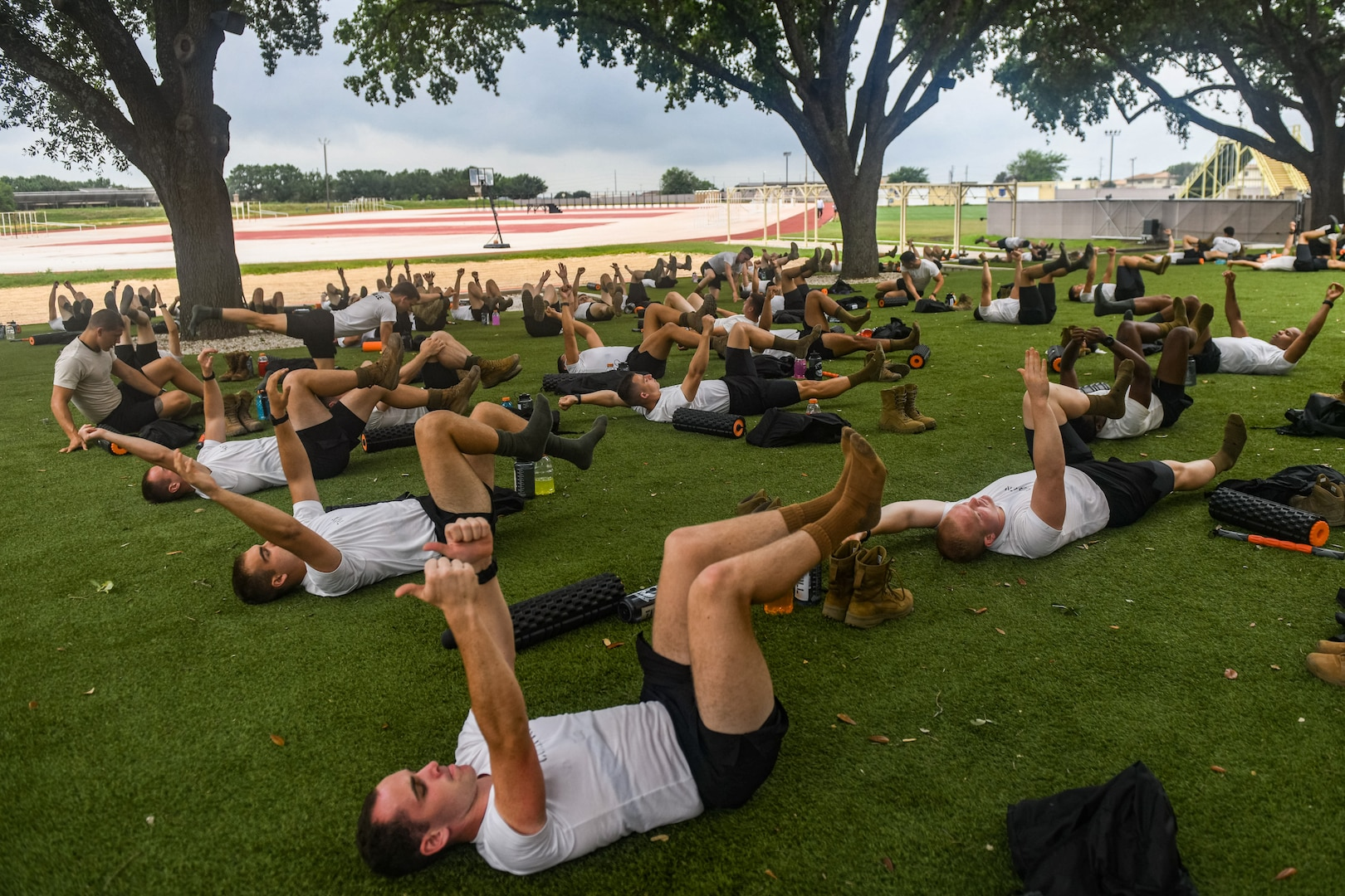 Students performing yoga exercises.