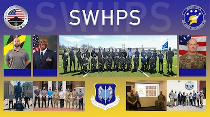 Graphic image displaying several group photos of the Human Performance Squadron.