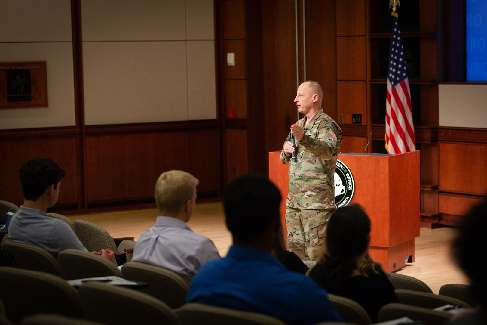 Maj. Gen. Gutlein addresses the second class of the NRO student internship program (June 9, 2021)