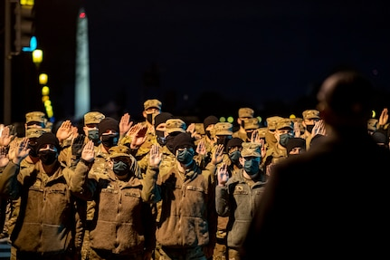 Chief Deputy U.S. Marshal for the District of Columbia Lamont Ruffin deputizes nearly 2,000 National Guard Soldiers and Airmen in Washington, D.C., Jan. 17, 2021. National Guard Soldiers and Airmen from every state and territories supported the 59th Presidential Inauguration.