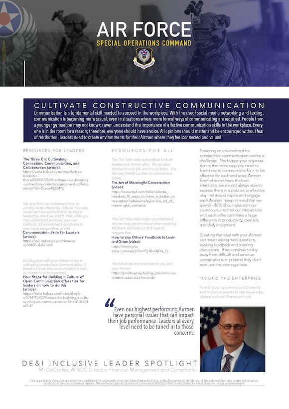 """""""Even our highest performing Airmen have personal issues that can impact their job performance. Leaders at every level need to be tuned-in to those concerns,"""" - Mr. Jeff Decocker, AFSOC Director, Financial Management and Comptroller."""