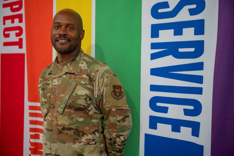 Senior Master Sgt. Ashley Metcalf, 926th Force Support Squadron, sustainment services flight chief, during a LGBT+ Panel event for Pride Month, June 23, at Nellis Air Force Base, Nevada.