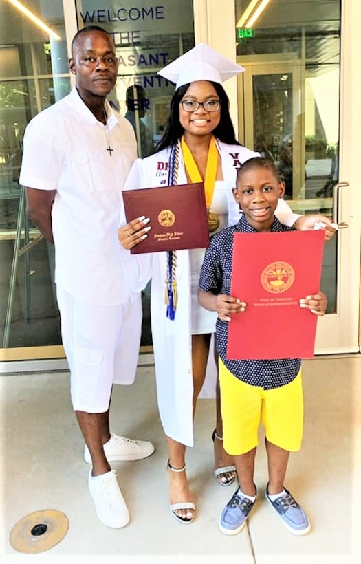 IN THE PHOTO, Erika Wallace, M/V Mississippi Machinery Mechanic Ervin Wallace's daughter, recently graduated from Frederick Douglass Public High School as the Valedictorian with an astounding 4.4 GPA. Congratulations to both father and daughter for achieving this major accomplishment.