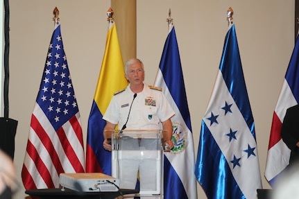 Navy Adm. Craig Faller, commander of U.S. Southern Command, speaks during the Central American Security Conference.