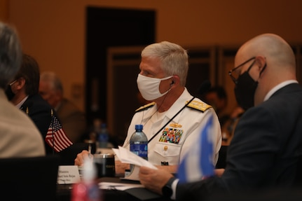 Navy Adm. Craig Faller, commander of U.S. Southern Command, listens to discussions during the Central American Security Conference.