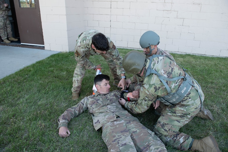 Airmen treat a simulated injury